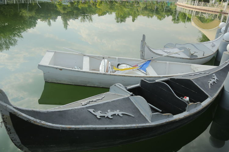Close-up of fishing boat in lake