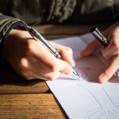 Drawing Human Hand Hand Human Body Part One Person Pen Real People Writing Body Part Paper Close-up Handwriting  Art And Craft Finger Holding