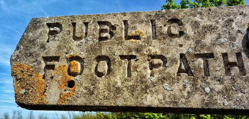 This way. Public Footpath Public Footpath Sign Old Sign Lichen Lichen Growth Carved Lettering Field Walking Country Life Into The Countryside British Countryside Countryside