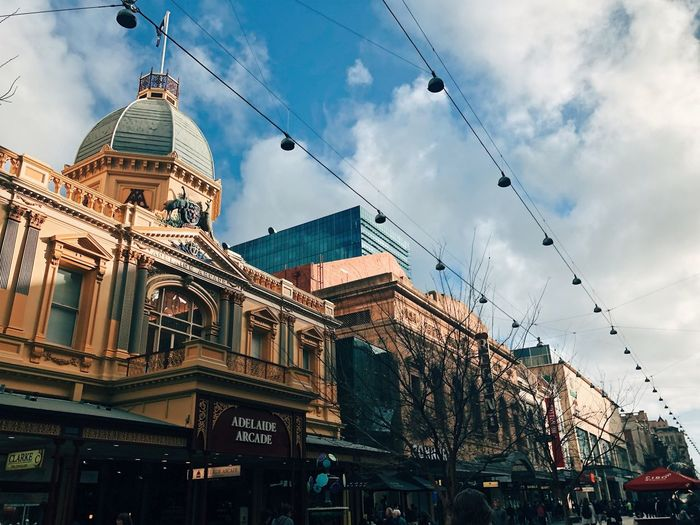 Adelaide, South Australia Architecture Built Structure Building Exterior Sky Cloud - Sky City Building Low Angle View Travel Destinations No People Street Cable Dome