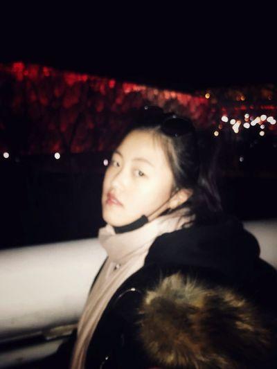 Warm Clothing Portrait Illuminated Young Women Beautiful Woman Winter Looking At Camera Headshot Cold Temperature Close-up