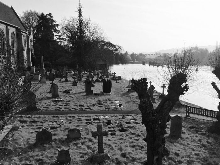Cemitery Blackandwhite London Backlight Sunrise