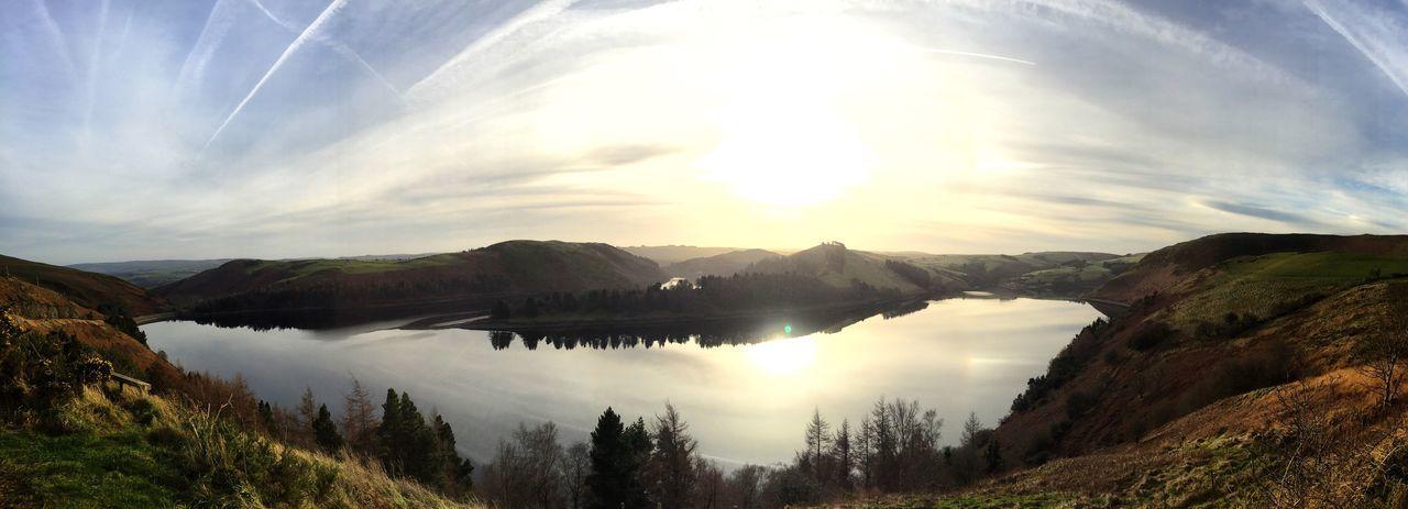 Llyn Clewedog, Llanidloes Beauty In Nature Mountain Reflection Water Sunlight Sky Landscape Llanidloes Llyn Clewedog