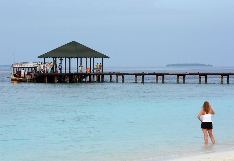 Pier Maldives Sea Sea View Sea And Sky Relaxing Tourism Tourists
