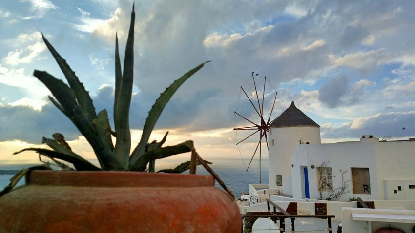 || Nature Theories || Santorini, Greece. TheFoneFanatic Nokia  Nokia808 Vacations Mobilephotography PhonePhotography Streetphotography Sky Landscape Cloud - Sky Travel Traditional Windmill Sunset Windmill Scenics Ancient Tranquil Scene A New Beginning