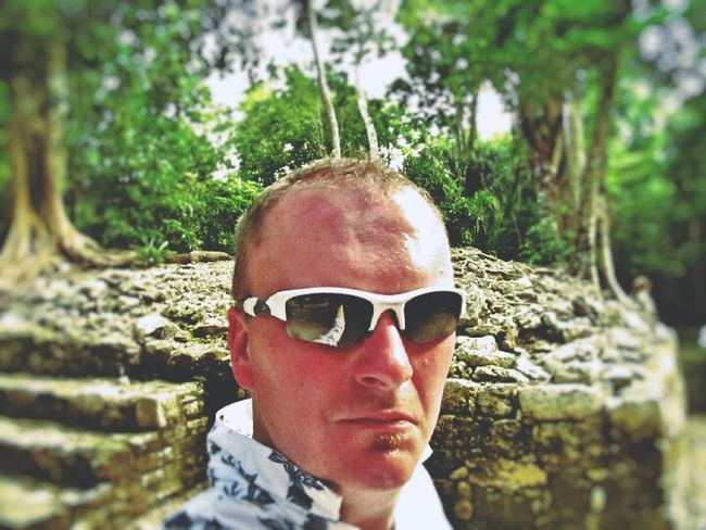 Selfie ✌ Vacations Mexico Looking At Camera Sunglasses Happiness ♡ Focus On Foreground Outdoors Heatwave Jungle Full Of Life Tranquil Scene Weathered Ruins Of A Temple