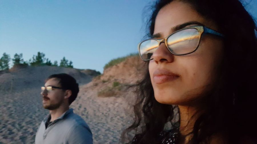 EyeEm Selects Outdoors Portrait Togetherness Eyeglasses  Sunset Real People Close-up Relationships Two People Headshot People Adults Only Looking At The Sunset Adult Summer Sleeping Bear Dunes Lake Michigan Michigan