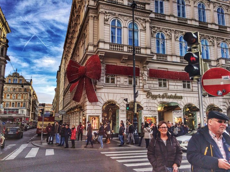 Building Exterior Architecture City Large Group Of People Women Men Travel Destinations Real People Day Outdoors Cultures Sky Red Decoration Transportation Traffic Light  City Of Beauty Love Smile Colors Winter Time Austria Eyeemphotography EyeEm Best Shots EyeEm Gallery