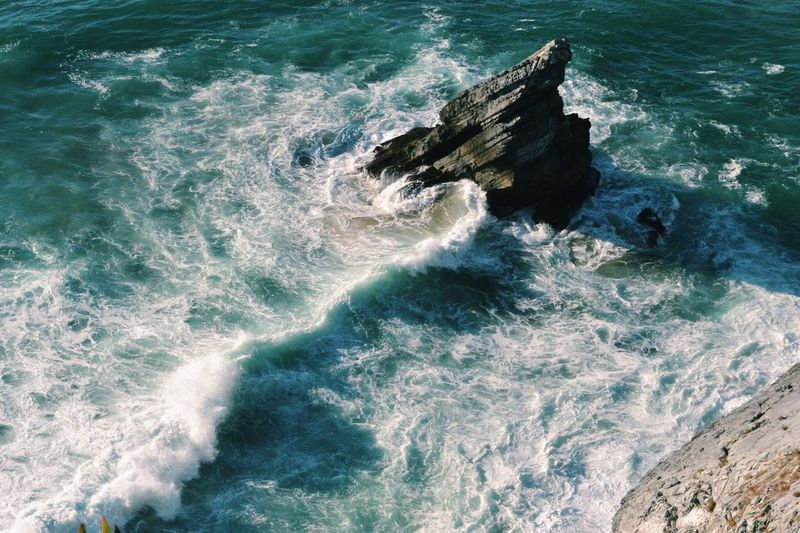 Ocean Sea Water High Angle View Wave Beauty In Nature No People Nature Motion Power In Nature Beachphotography Eyeemphoto Portugal Sintra Praiadaadraga Rock Beautiful Nature Oceanside Ocean Waves Perspectives On Nature The Great Outdoors - 2018 EyeEm Awards