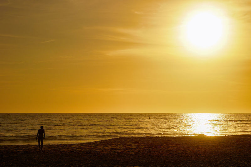 Silhouette person standing on sea against sky during sunset