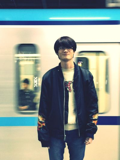 Tokyo. Young Men Young Adult Subway Train Real People Standing One Person Mode Of Transport Transportation Lifestyles Public Transportation One Young Man Only Indoors  Front View Train - Vehicle Rail Transportation City City Life Men Well-dressed Adults Only