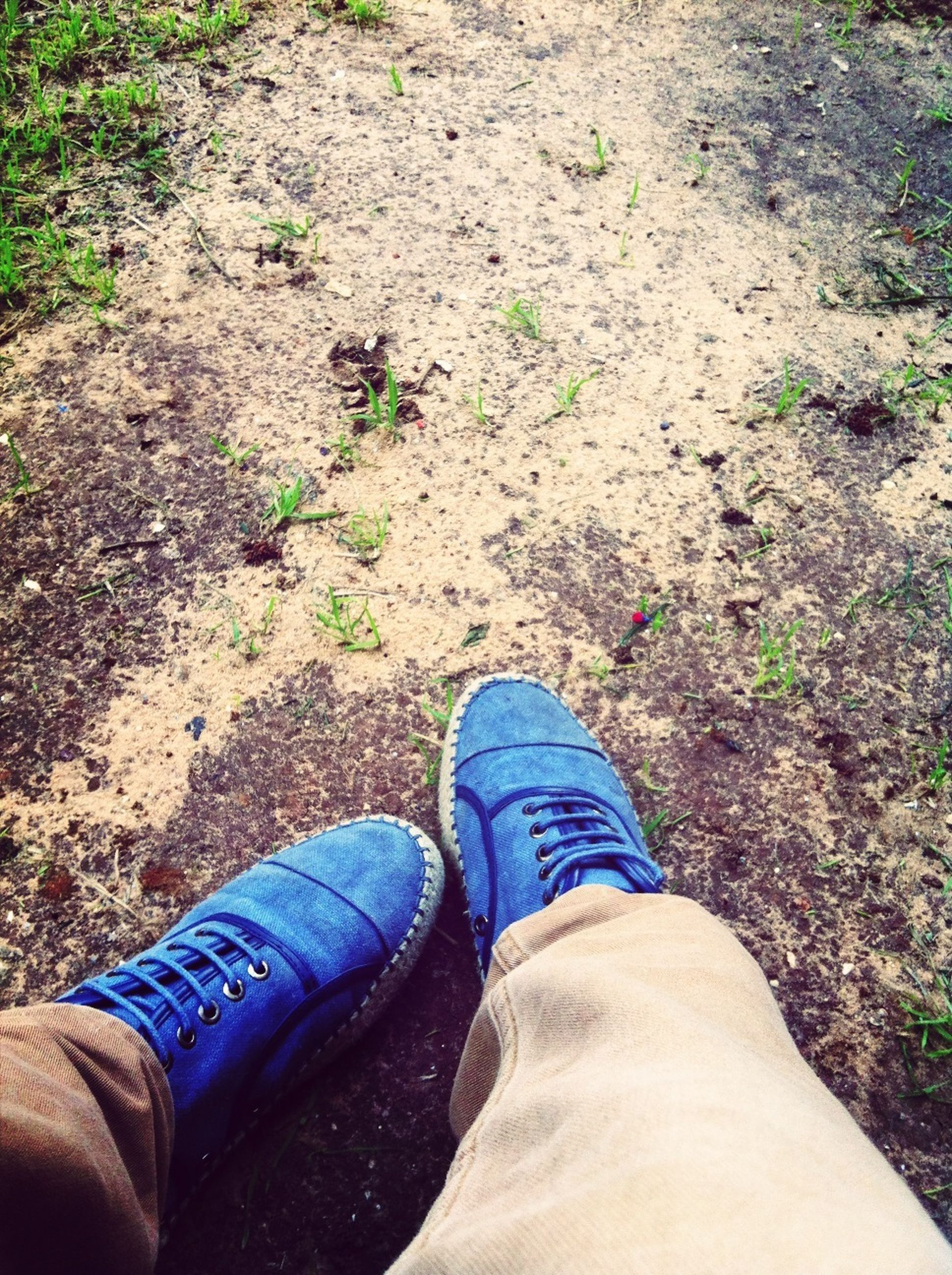 low section, person, personal perspective, shoe, lifestyles, human foot, leisure activity, jeans, men, high angle view, footwear, part of, unrecognizable person, standing, field, directly above, day