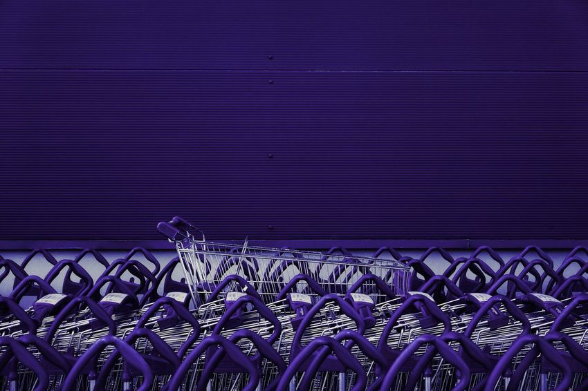 Abundance Shopping Cart Shopping Carts In A Row Colors Colours Monochrome Minimalism Minimal Blue Purple Close-up Repetition Many Large Group Of Objects Arrangement LINE