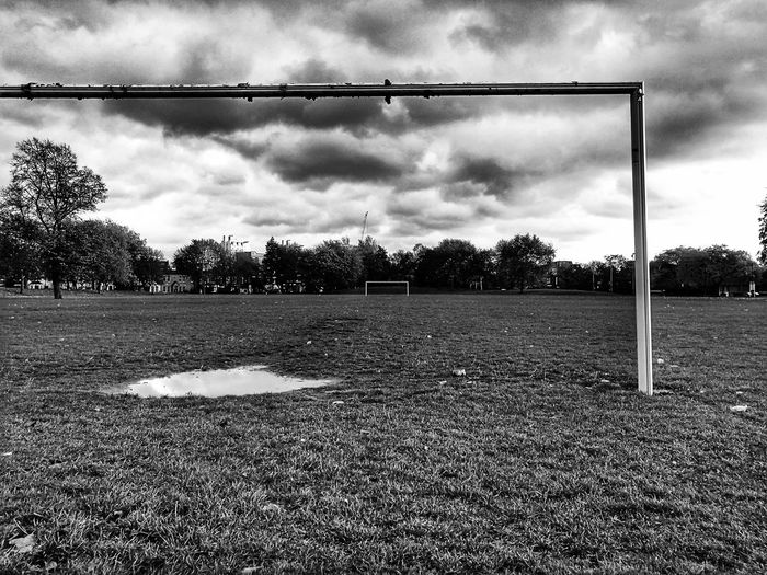 Football Sky Cloud - Sky No People Outdoors Nature Day Tree Football Field Empty Black And White Monochromatic