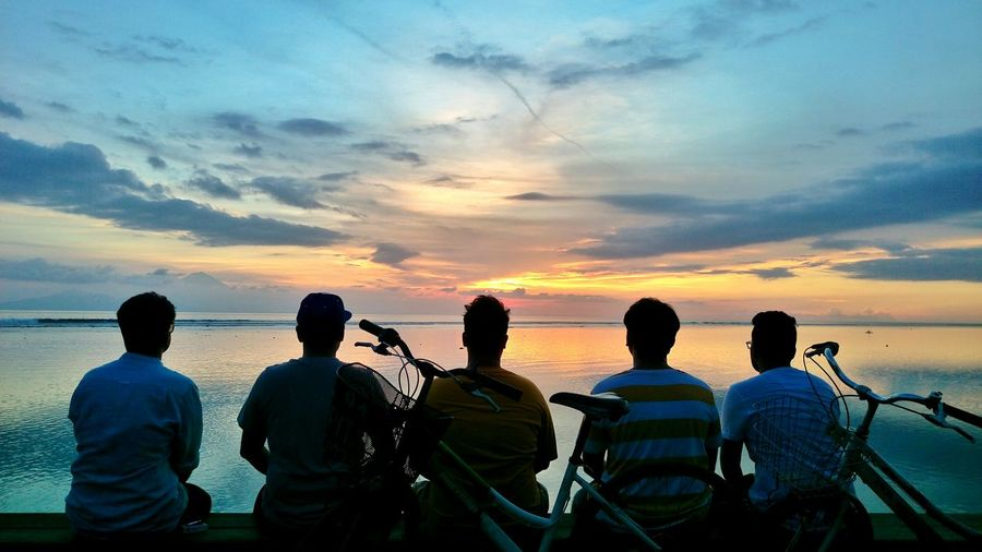 Sunset Water Standing Silhouette Sea Rear View Vacations Sky Horizon Over Water Men Dusk Cloud Relaxation Tranquility Togetherness Scenics Person Cloud - Sky Tourism Beauty In Nature EyeEm Best Shots Beauty In Nature Cloudscape Bali