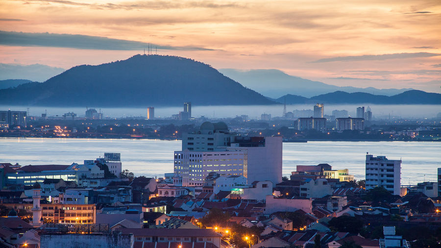 Beautiful George Town city view of Penang, Malaysia British Colonial Heritage British Colony Business City Cityscape Economy Financial George Town George Town Penang George Town, Penang, Malaysia Georgetown Georgetown Penang Heritage No People Outdoors Penang Penang Island Penang Malaysia Sky Sunrise Sunset