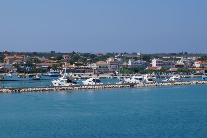 Town By Sea Against Clear Blue Sky