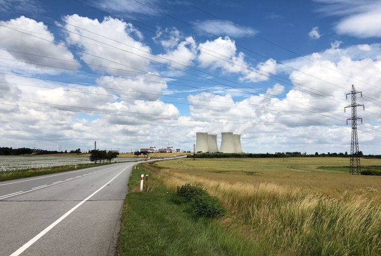 Czech nuclear power station Sky Cloud - Sky Road Transportation Plant The Way Forward Nature Day Tranquility Street No People Landscape Empty Road Tree Direction