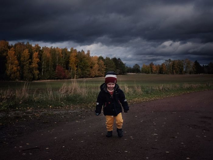 The walk before the storm Portrait Nature Cloud - Sky Sky Full Length One Person Overcast Nature Tree Land Storm Cloud Rain