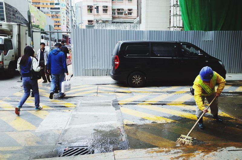 Street cleaning, Wan Chai, Hong Kong. Hong Kong Streetphotography