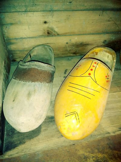 Wooden Shoes Wood Shoes Carved Yellow Close-up
