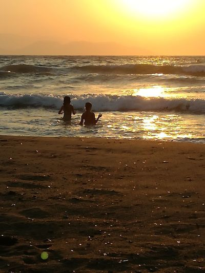 Summer2 Sunset Sea Beach Water Orange Color Nature Two People