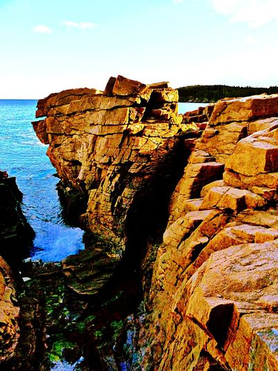 Nature Scenics Beauty In Nature Eroded Travel Destinations Extreme Terrain Landscape No People Awe Horizon Over Water Outdoors ,Thunder Hole, Acadia National Park, Maine ,USA
