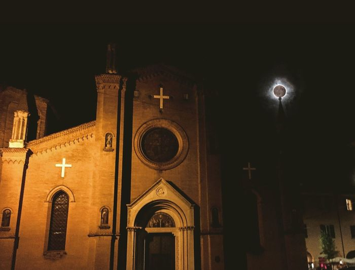 Full moon in bologna Night Architecture Built Structure Building Exterior Moon Religion Place Of Worship Illuminated Street Light Spirituality Low Angle View No People Outdoors Sky