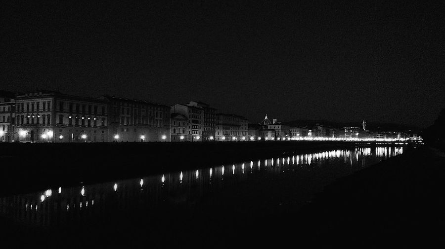 Florence by Night Tranquility Clear Sky Tranquil Scene Canal River City Water Outdoors Blackandwhite Bnw Bnw_captures Bnwphotography