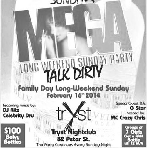 TONIGHT! └▶ #LIV SUNDAYS @ TRYST NIGHT CLUB/ MEGA LONG WEEKEND PARTY TALK DIRTY SUN FEB 16th @82 Peter st Toronto ON Hiphop | Reggae | R&B! ?5 on guest list! B4 11:30pm ? for guest list booths and bottle service contact me Twitter @420keyz Instagram: @420keyz Facebook: KeyzLockz BBM: 73d3bccc 416 540-9901 #1 PARTY ON A SUNDAY NIGHT COME PARTY & GET #TRYSTED PARTY CONTINUES EVERY SUNDAY ! #follow #followback #follow4follow #faded #tryst #club #sundays #trysttoronto