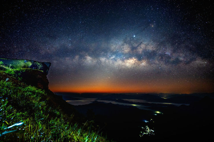 Milky way and star over Phu chi fa at night in Chiangrai, Thailand. Star - Space Scenics - Nature Space Sky Beauty In Nature Night Astronomy Tranquil Scene Tranquility Galaxy Nature No People Star Milky Way Idyllic Non-urban Scene Star Field Mountain Cloud - Sky Environment Outdoors