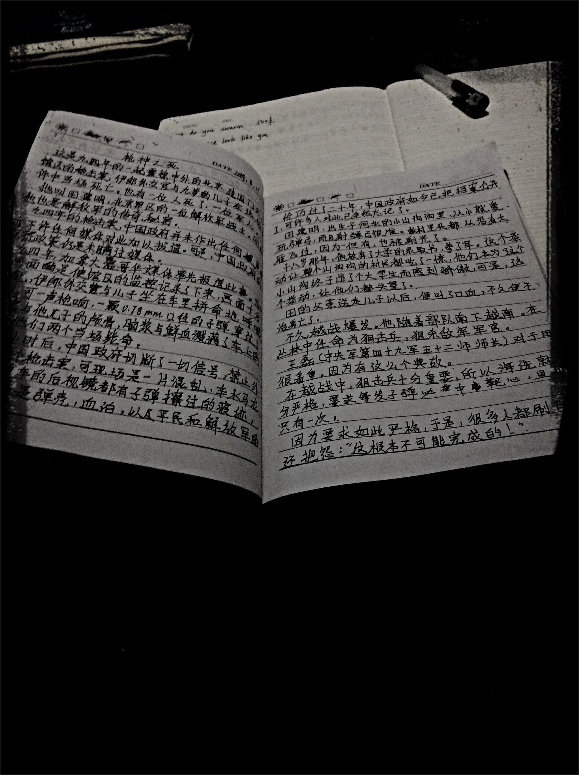 text, indoors, western script, communication, paper, close-up, book, education, high angle view, black background, no people, non-western script, table, dark, still life, number, part of, open, information, studio shot