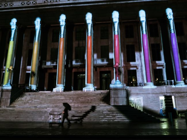 Architectural Column Architecture Building Exterior Night One Person Outdoors