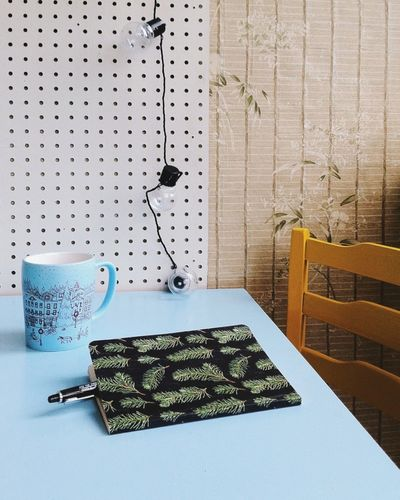 Perforated Plate Design Interior Design Interior Notebook Writing Cup Of Tea Cup Of Coffee Bulbs Yellow Chair Blue Table White Color Wall - Building Feature Still Life Blue Color Yellow Color Bulb Bulb Light Bulbphotography Home Is Where The Art Is Interior Decorating Interior Detail