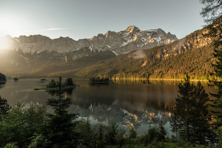 Eibsee Zugspitze Beauty In Nature Environment Idyllic Lake Lake Eibsee Landscape Mountain Mountain Range Nature No People Non-urban Scene Outdoors Plant Reflection Scenics - Nature Sky Tranquil Scene Tranquility Tree Water