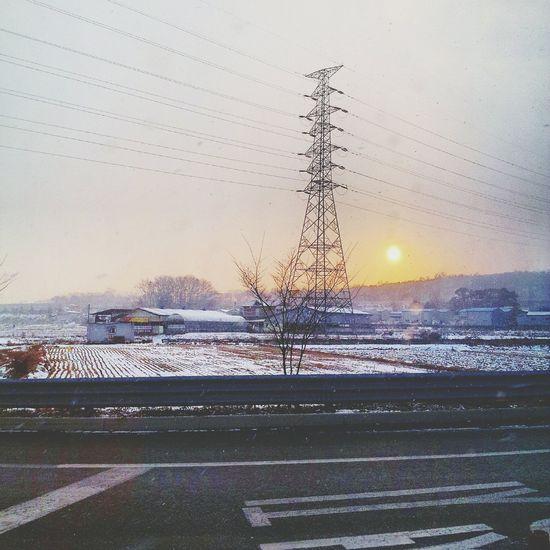 Winter sunset skorea