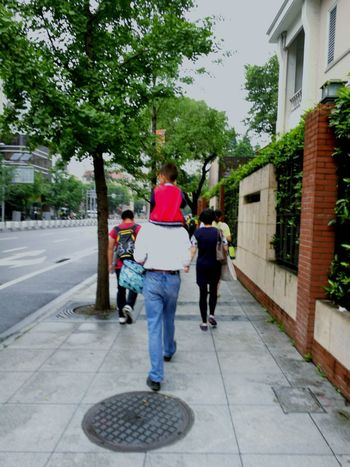 i see the world on your shoulder Father & Son Love Child Red Shanghai