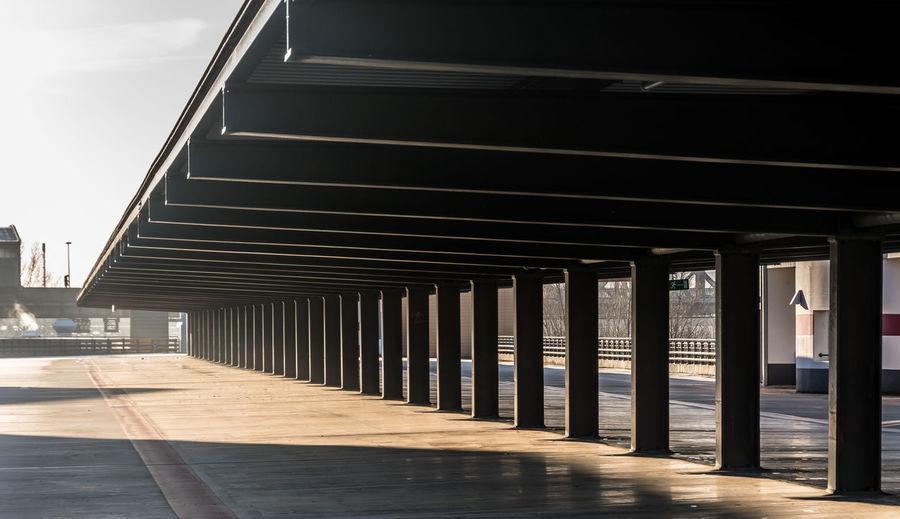 Built structure at empty parking lot