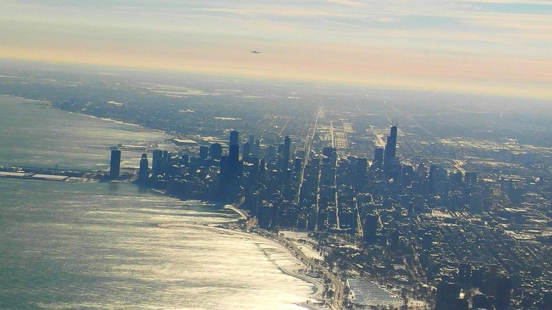 Downtown Chicago. From An Airplane Window Flying Travel