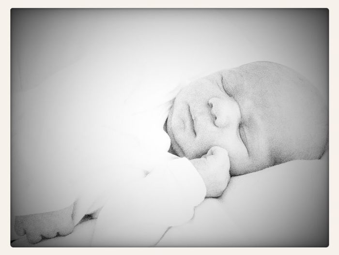 Blackandwhite Portrait Blackandwhite Newborn Peaceful Newborn Portrait Close-up Eyes Closed  White Background Indoors  Bed