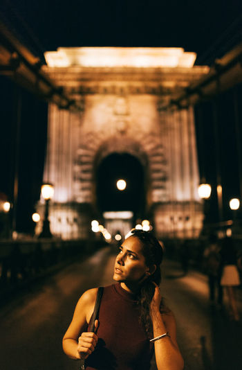 Summer nights Budapest Casual Clothing Chainbridge City EyeEm Best Shots Focus On Foreground Front View Illuminated In Front Of Leisure Activity Lifestyles Lights And Shadows Modeling Night Nightphotography TeamCanon Waist Up Young Adult Young Women People And Places