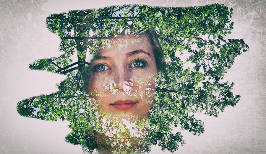 Titania: Ex-Perspective Art Close-up Double Exposure Effe Eye4photography  EyeEm Best Shots Frey Green Color Growth Hardwork Leaf Nature Nature_collection Plant Portrait Portrait Of A Woman Thelist Titania Trees Market Reviewers' Top Picks