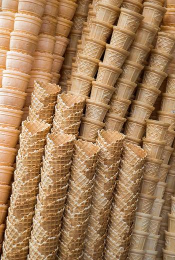 Full Frame Shot Of Ice Cream Cones