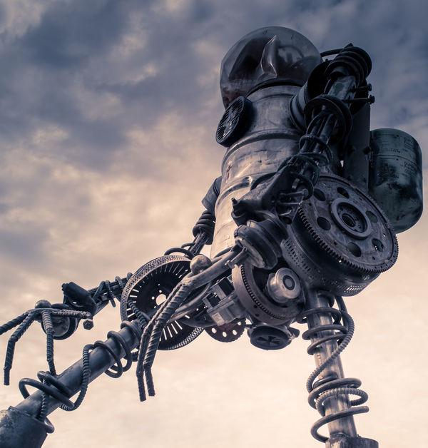 Robot - Deep Ellum Robot BIG Tall Huge Looking Up Outside Sky Mechanical Dallas Deep Ellum Machine Machines Metal Cool