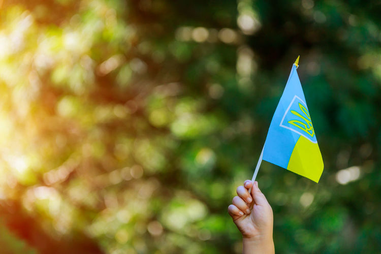 Ukrainian patriot hold of ukrainian flag a summer day Choice Freedom Hands Happiness Hope Patriotism Pray Ukraine Ukrainian  Ukrainian Girl Unity Day Flag Focus On Foreground Independence Day Leisure Activity Lifestyles One Person Outdoors Real People War