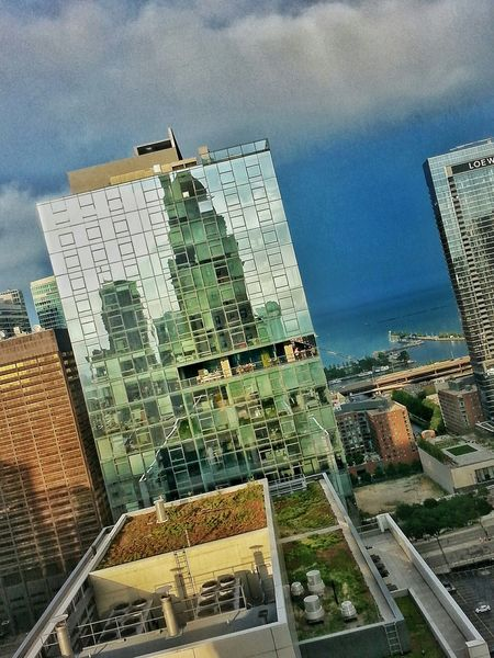 From the InterContinental... Skyline Lake Michigan Reflection Chicago Downtown Chicago Office Buildings Storm Clouds Snapseed Chicago Intercontinental