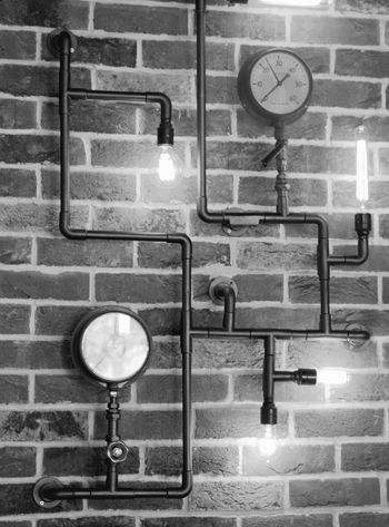 Black And White Brick Wall Bulb Clocks Close-up No People Pipes Still Life Wall Feature