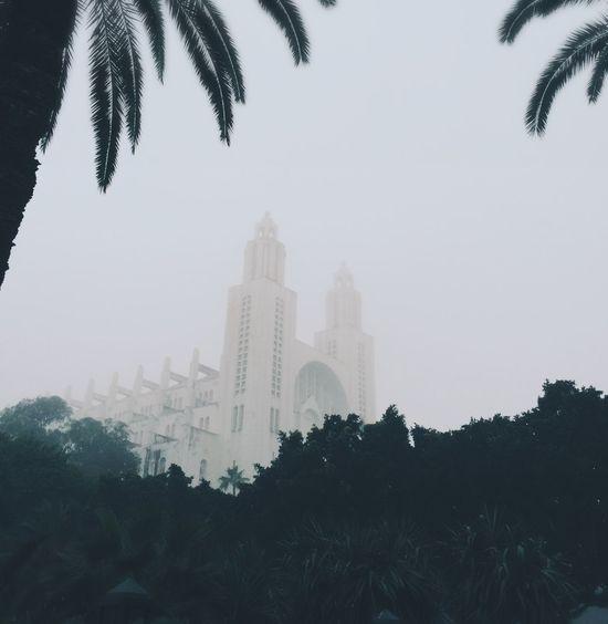 Casablanca Cathedral Sacre Coeur Foggy Sky White