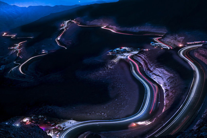 cars on move Leading Lines Night Photography Slopes Travel Photography Beauty In Nature Blue Car Trails Landscape Mountain Nature No People Outdoors Sky