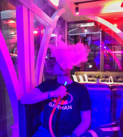 Hookah Shape Of Heart Nightlife Nightclub Illuminated Arts Culture And Entertainment Purple